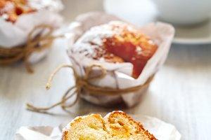 Fresh breakfast with peach muffins
