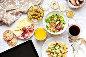 Fresh healthy continental breakfast