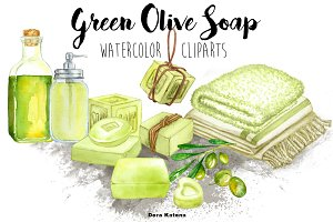 Green Olive Soap Clipart