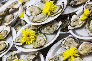 Seafood, oyster. Street food.