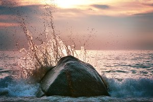 Awesome wave at sunset