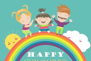 Happy children with rainbow