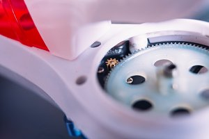 close-up Pinion Gear propeller blade quadrocopter to the blurred background