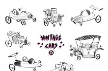 Sketchy vintage cars set
