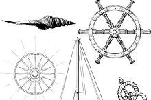 Set of marine and yachting symbols
