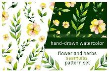 Watercolor herbs seamless pattern