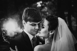 Black white photography wedding beautiful young couple stand on background forest