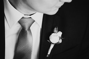 Black white photography happy  young smiling groom