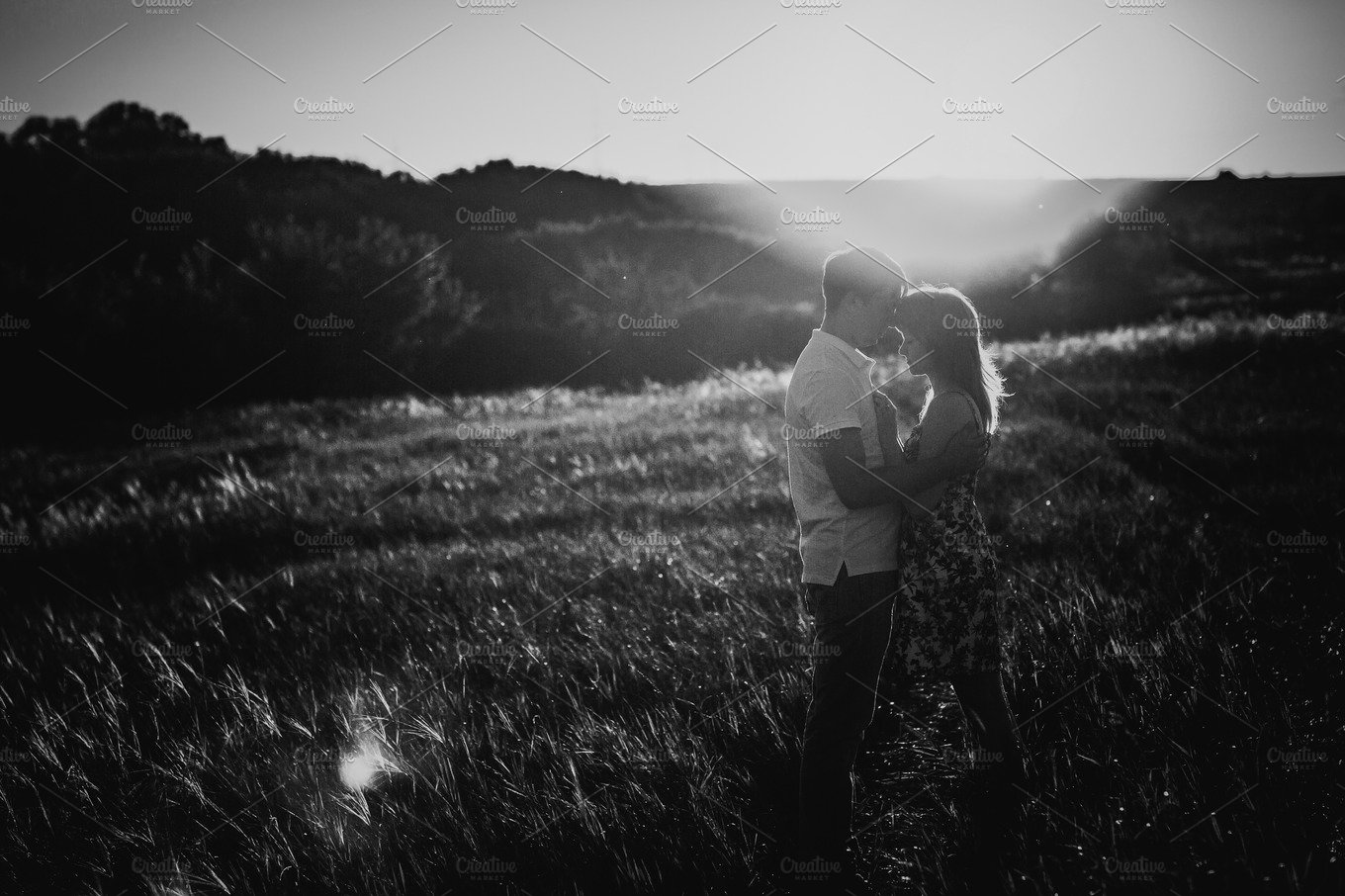Black white photography romantic couple standing and kissing on background summer meadow people photos creative market