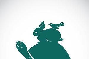 Vector of a turtle, rabbit, bird