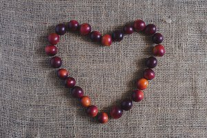 Heart of plums