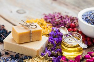 Bars of homemade soaps and herbs