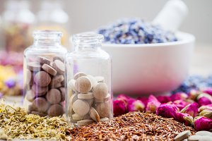 Tablets and healing herbs