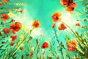 Field with poppies (vector + rastr)