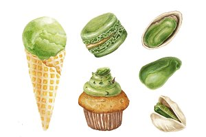 Watercolor pistachio delicious set