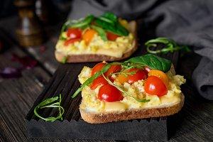 Scrambled eggs toast for breakfast