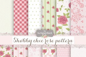 Shabby chic pattern green/rose