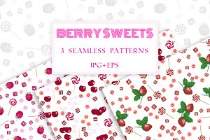 Berry sweets seamless patterns