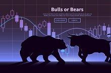Bulls or Bears. Vector illustration.
