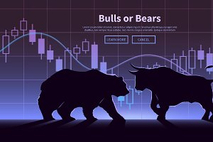 Bulls or Bears. Vector illustration.