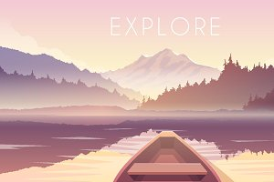 Explore. Vector web illustration.