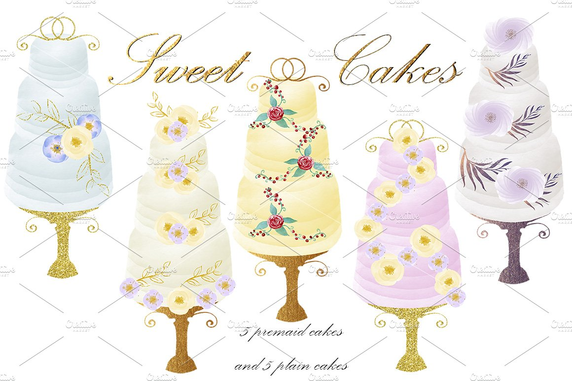 Watercolor Cakes Clipart Diy Kit Illustrations