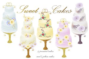 Watercolor cakes clipart. DIY kit