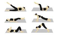 Woman doing workout vector set