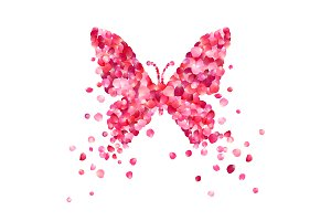 Butterfly of pink rose petals