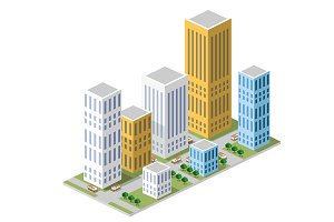 Cityscape isometric view