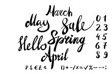 hello spring lettering set