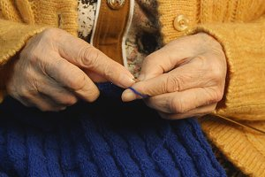 Grandmother hands knit