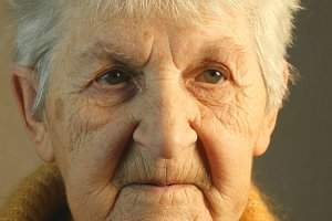 Portrait of an old woman. Close-up