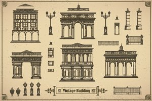 Set of vintage buildings