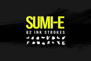 82 Sumi-E Ink Strokes