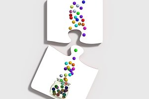Puzzle and colored balls