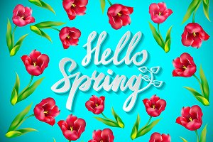 Hello spring  vector floral