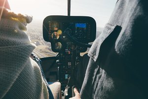 Inside view of a helicopter