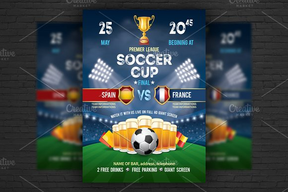 soccer poster flyer template flyer templates creative market