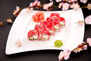 Roll California made of Fresh Salmon