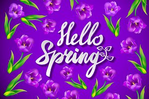 Hand drawn hello spring