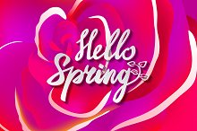 lettering hello Spring ivector rose