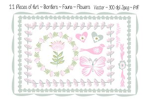 Pretty Borders Flowers Fauna