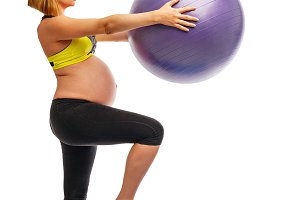 Fitness. Pregnant woman. Fitball