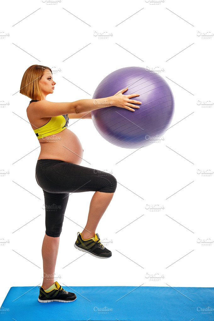 Fitness. Pregnant woman. Fitball - Sports