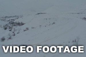 Car on heavy snowy road