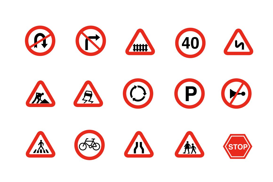 15 Traffic And Road Signs Icons Creative Market