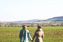 Girl friends walking