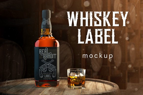 Free Whiskey Bottle Label Mockup