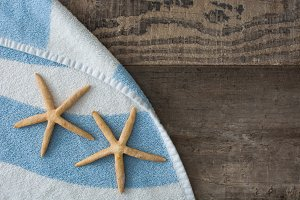 Starfish on a beach towel